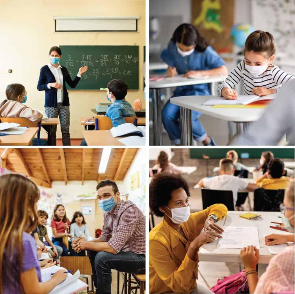 Grid of 4 groups of people wearing masks in school rooms